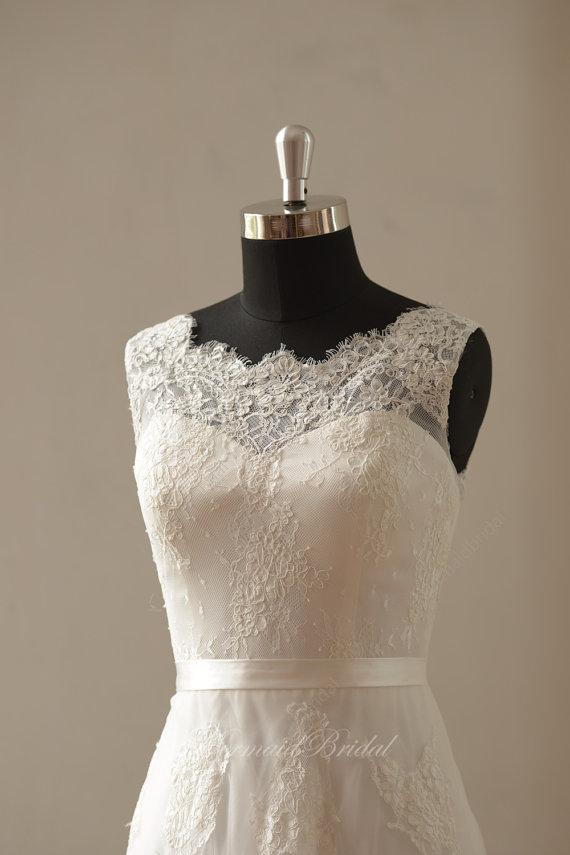 Свадьба - Ivory a line lace wedding dress