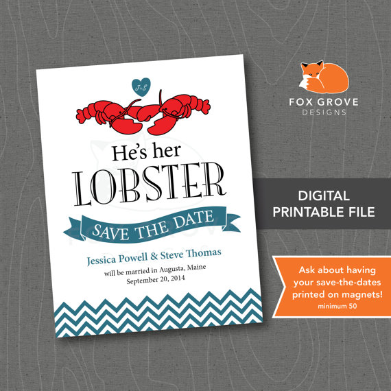 Printable Save The Date He S Her Lobster Friends