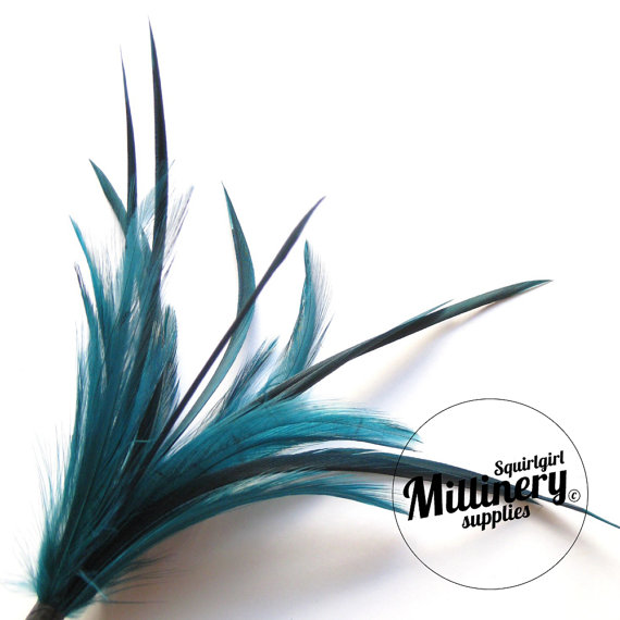 Mariage - Goose Biot & Hackle Feather Hat Mount Trim for Fascinators, Wedding Bouquets and Hat Making Teal