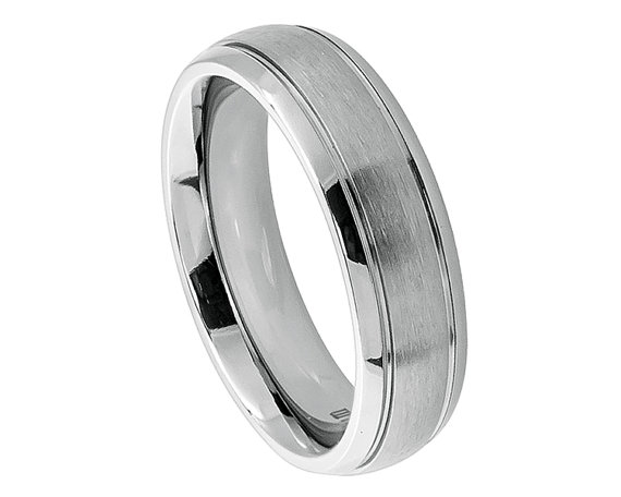 Mariage - Women Titanium Band Womens Wedding Ring Womens Band Women Rings Promise Rings Engagement Ring Raised Center Stepped Edge, SNUJDTISGG