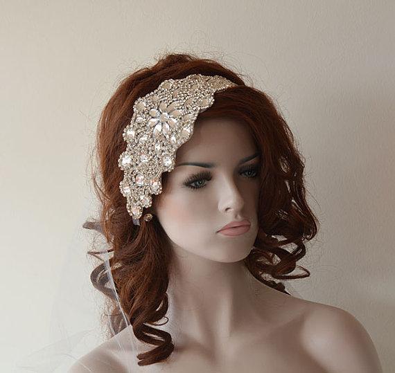 Mariage - Wedding Rhinestone Headband, Wedding Veil,  Bridal Veil, Wedding Hair Accessory , Vintage Inspired, Bridal Hair Accessories