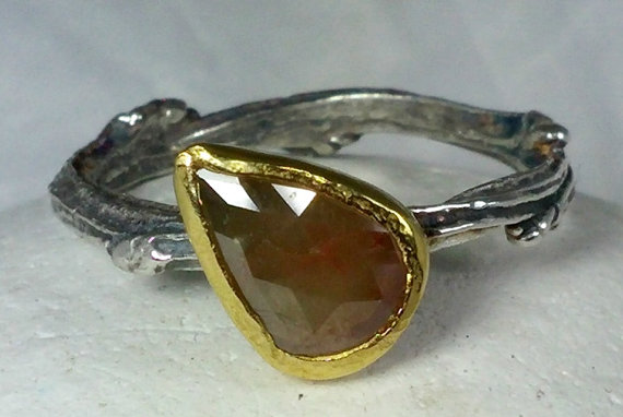 Mariage - rose cut diamond engagement ring, silver and yellow gold and diamond ring, natural diamond and 22 kt gold twig ring