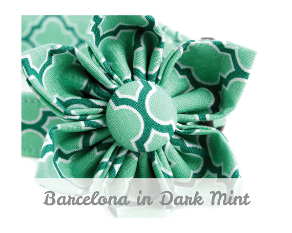 Свадьба - Mint Dog Collar Flower - Barcelona in Dark Mint