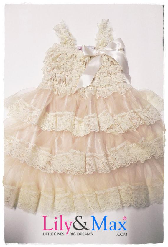 Mariage - Lace  girl posh dress,Flower Girl Dress,  Baby Lace Dress, Baptism dress, Country Flower Girl dress, Lace Rustic flower Girl dress