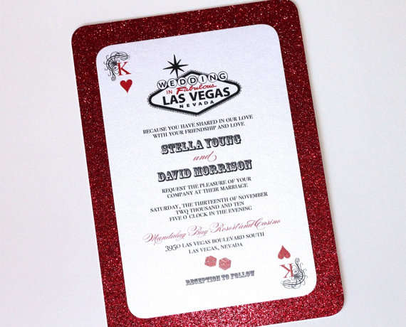 Stella Las Vegas Wedding Invitation Sample Flat Red Glitter And White Metallic Cardstock
