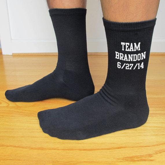 Mens Wedding Gift Ideas: Black Mens Wedding Socks, Personalized Custom Wedding