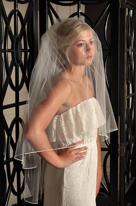زفاف - Two Tier Bridal Veil, Wedding Veil Two Tier, Pencil Edge Veil - Ivory, White, Diamond White, Champagne