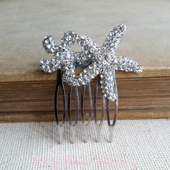 Mariage - Starfish hair accessories, rhinestone silver Beach Wedding hair comb, beach wedding hair accessories crystal