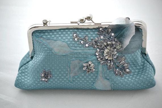 Свадьба - wedding clutch purse, silk pique clutch purse, blue gray silver rhinestone , silver frame , floral purse , something blue wedding purse