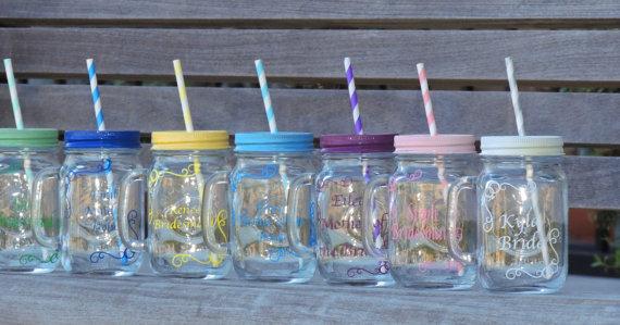 Свадьба - wedding mason mug. bridal party mugs, wedding mason jars, mason mug cup, wedding party favor, glass mason mug, bridesmaid favor, groomsmen