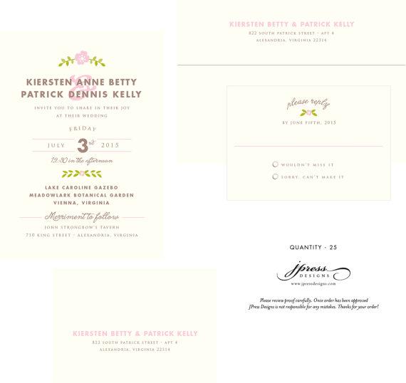 Mariage - Custom Wedding Invitation listing (25) folk, whimsy, floral, flower, modern, simple, classic, pink, green, ampersand, wedding, reply card