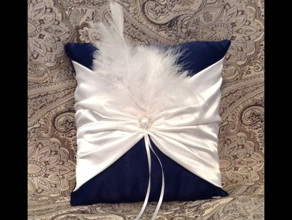 Mariage - ring bearer pillow custom made satin pillow white or ivory  on black pillow