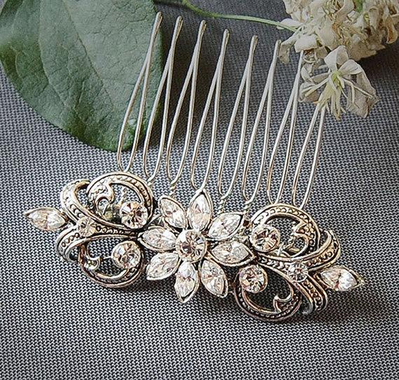 Hochzeit - COLINE, Victorian Style SWAROVSKI Rhinestone Wedding Hair Comb, Oval Bridal Hair Comb, Wedding Hair Accessory (Signature Collection)