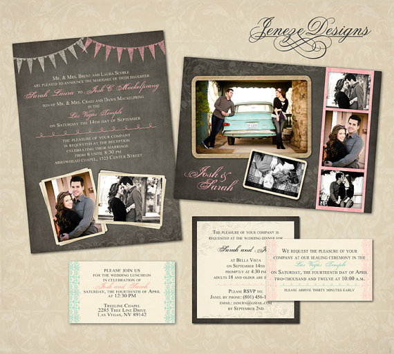 Wedding - Custom Vintage Photo Wedding Invitation