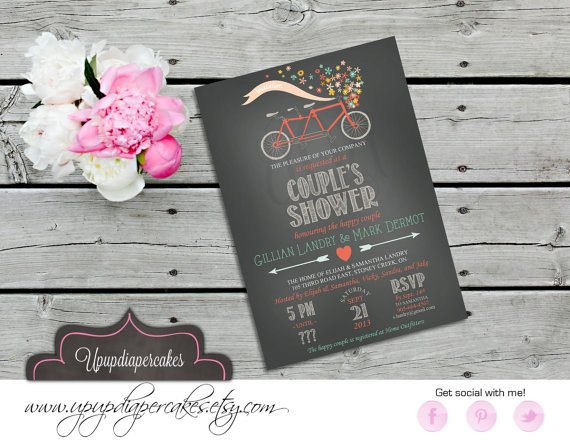 Couple shower invitation bicycle tandem bicycle wedding shower couple shower invitation bicycle tandem bicycle wedding shower bridal shower engagement party anniversary rehearsal dinner printable filmwisefo