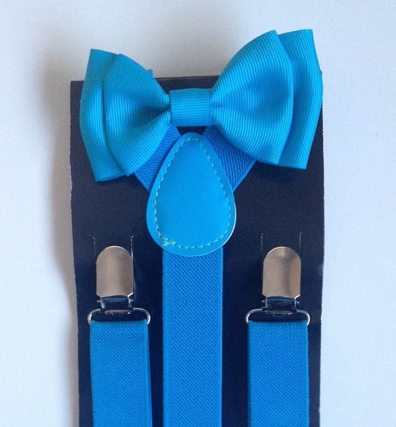 Mariage - Turquoise Baby bow tie Suspenders Boys Bowties suspenders Toddler Suspender Bowtie set Men Suspenders Fathers day Matching Baby Shower Gift