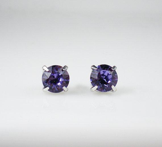 Mariage - Tanzanite Rhinestone Stud Earrings Swarovski Violet Wedding Jewelry Flower Girl Earrings Bridesmaid Earrings MADE TO ORDER