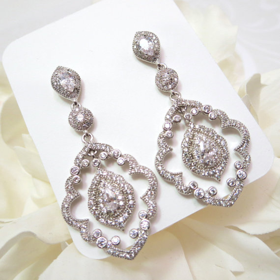 Art Deco Chandelier Earrings Cz Bridal Wedding Jewelry Vintage Inspired Crystal