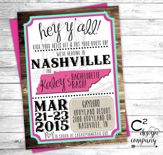 زفاف - Mint & Pink Nashville Bachelorette Party Invitation