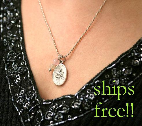 Свадьба - Fertility Necklace, St Gerard Medal Pendant, Fertility Jewelry, Religious Jewelry Wedding Gift Shower Present, Saint of Happy Deliveries
