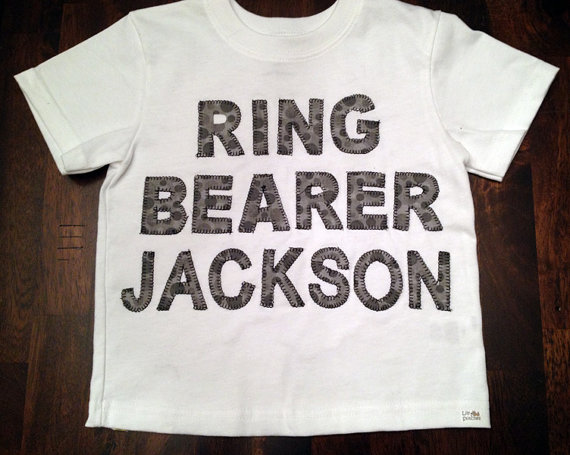Mariage - Personalized Ring Bearer T-Shirt  with Your Little One's Name Customized to Coordinate with Your Special Day