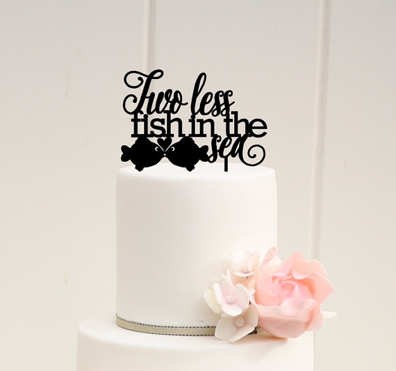 Two less fish in the sea wedding cake topper custom cake for Two less fish in the sea