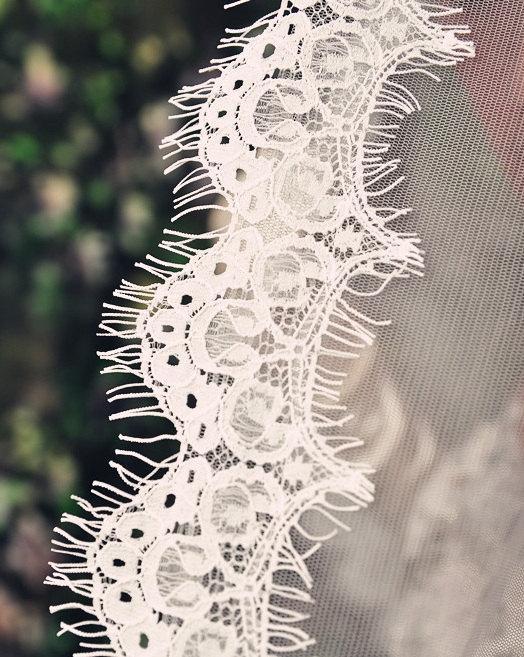 Mariage - Cathedral Length Eyelash Lace Edge Mantilla Wedding Veil