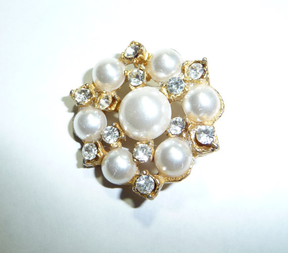 Mariage - Vintage Faux Pearls and Rhinestones Button on Etsy
