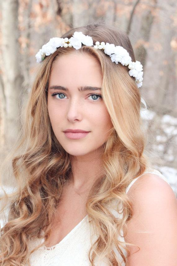 Mariage - rose and pearl hair crown, pearl headpiece, wedding headband, bridal headpiece, wedding headpiece, wedding hair accessories