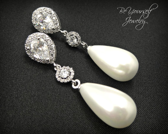 Mariage - Teardrop Pearl Earring Long Bridal Earring Sparkly White Crystal Cubic Zirconia Earring Sterling Silver Post Wedding Jewelry Bridesmaid Gift
