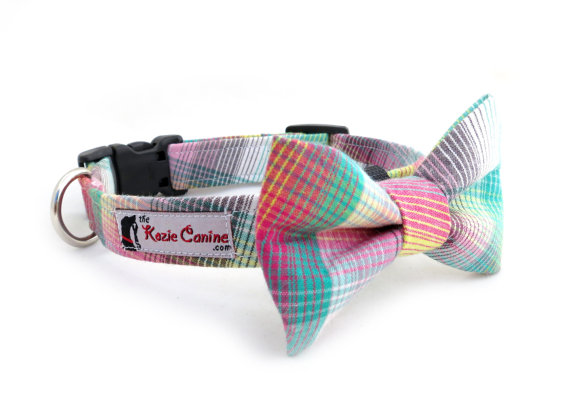 Свадьба - Rainbow Striped Dog Collar (Blue , Pink, Teal, White Striped Dog Collar - Matching Bow Tie Available Separately for Wedding)