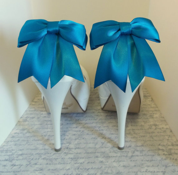 Mariage - Shoe Clips -  Satin Bows - MANY COLORS AVAILABLE womens shoe clips wedding shoes clip Best Seller
