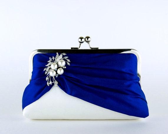 Mariage - Petit in Royal Silk Clutch, Wedding clutch, Bridal clutch, Purse for wedding