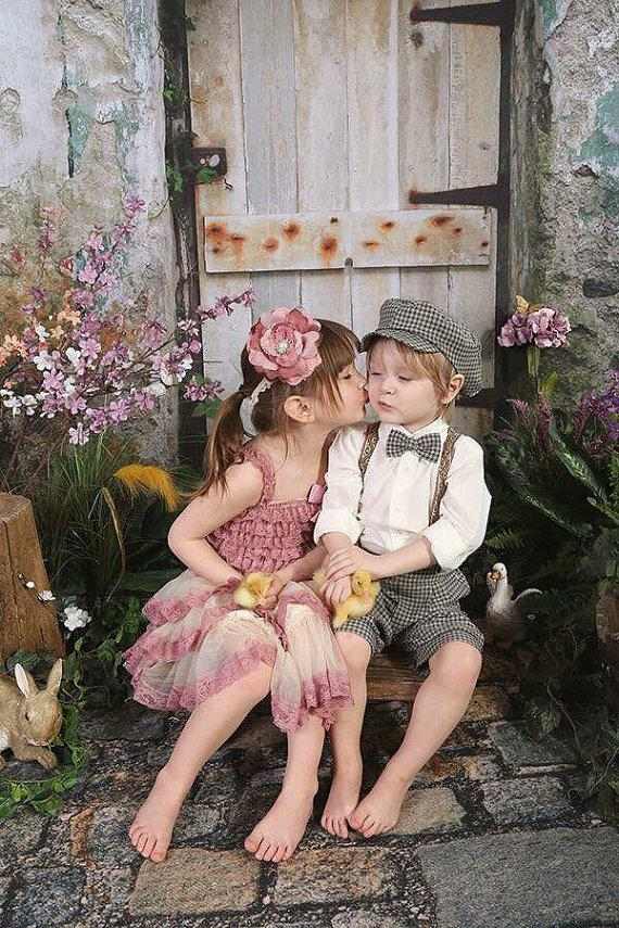Mariage - Pink ivory lace Dress Girls Easter Dress , flower girl dress vintage dress
