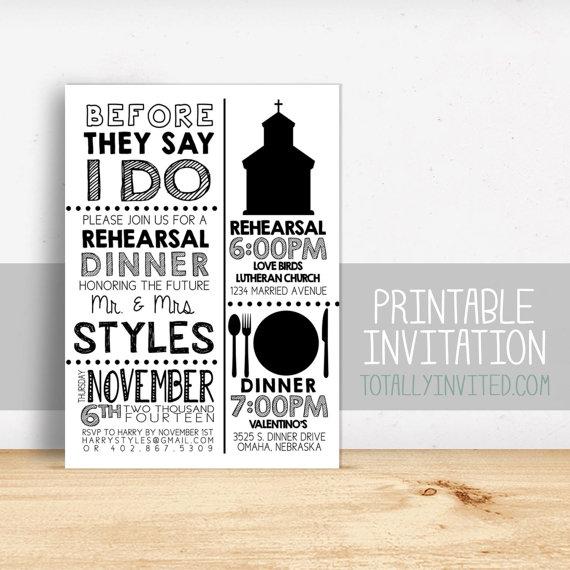 Свадьба - Printable Rehearsal Dinner Invitation - fun simple Wedding rehearsal - PRINTABLE - (custom) navy blue or any color PRINTABLE digital diy
