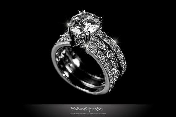 Mariage - Engagement Ring Set, Bridal Solitaire 7 Carat Round Cut Wedding CZ Ring Set  Vintage Anniversary Eternity Cubic Zirconia Diamond Ring