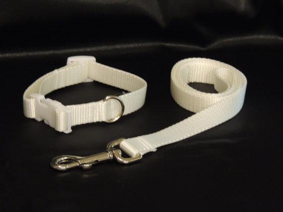 "Свадьба - Medium White Wedding Dog Collar 11-15"" and Leash"