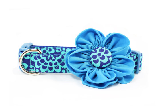 زفاف - Turquoise Dog Flower Collar Wallflower Girly Floral Blue Wedding Dog Collar Flower  - Madison