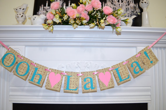ooh la la banner lace lingerie shower banner party banner bridal shower decor bride to be teal ivory pink lace garland