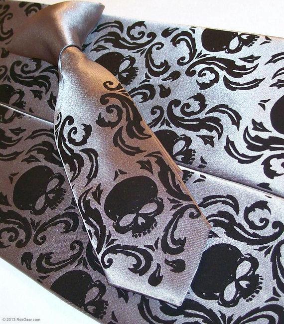 Mariage - 2 Skull Damask  neckties, 1 mens - 1 boys - custom colors print to order