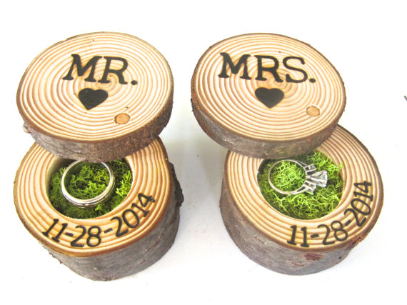 wedding ring bearer box mr and mrs engagement ring box wood ring box tree branch ring box - Wedding Ring Boxes