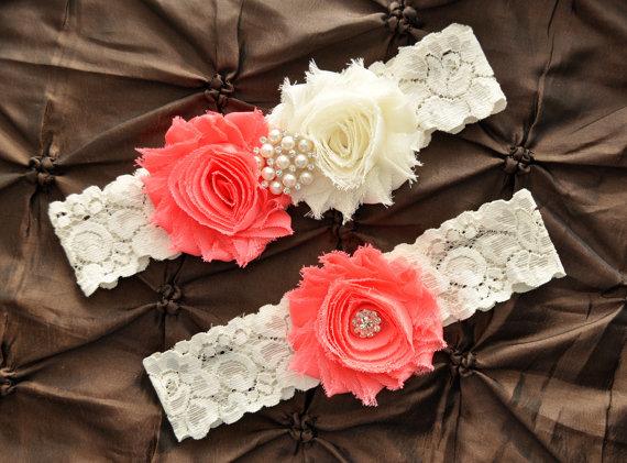 Mariage - Wedding Garter Belt, Bridal Garter Set - Ivory Lace Garter, Keepsake Garter Toss Garter Shabby Chiffon Coral Ivory, You Design / Pick Colors