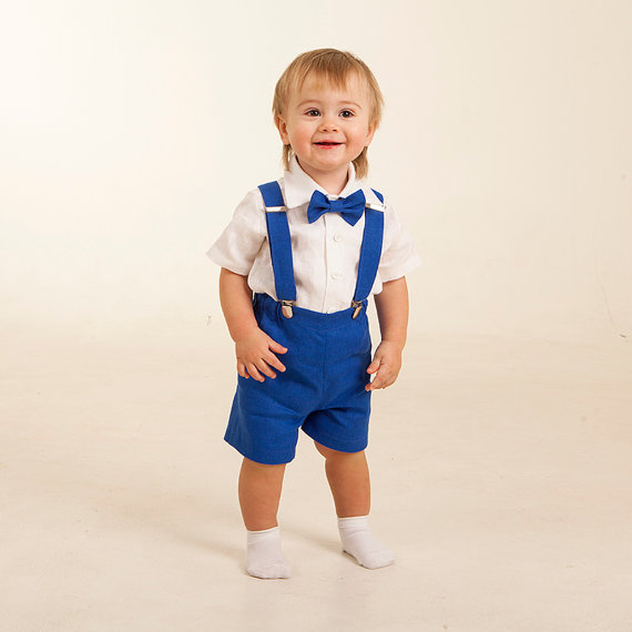 Baby Boy Linen Suit Ring Bearer Outfit First Birthday Baptism ...