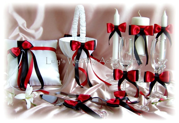 Mariage - Red and Black Wedding Ring Bearer Pillow, Flower Girl Basket, Candles, Flutes, Cake Set,, 9pc Ceremony Reception Decor