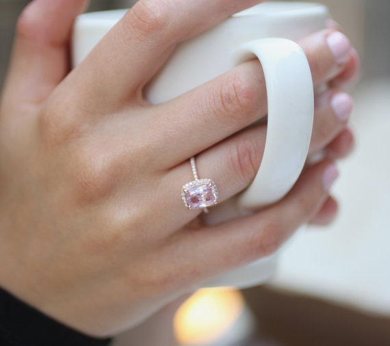 Hochzeit - 1.52ct Cushion raspberry peach champagne sapphire 14k rose gold diamond ring engagement ring