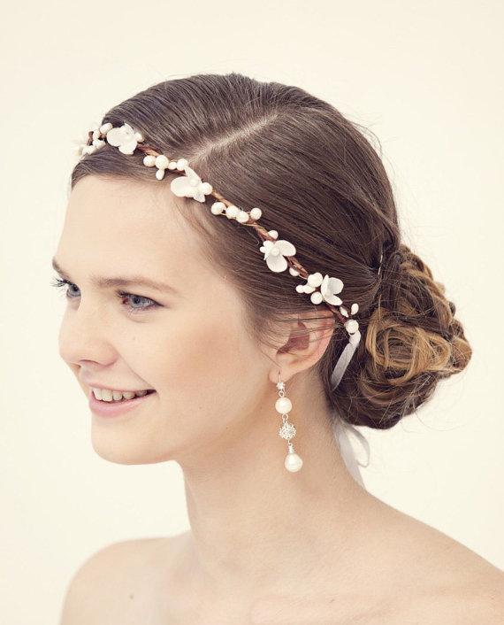 Flower Crown Rustic Wedding Bridal Headband Pearl Hair Accessories Tiara