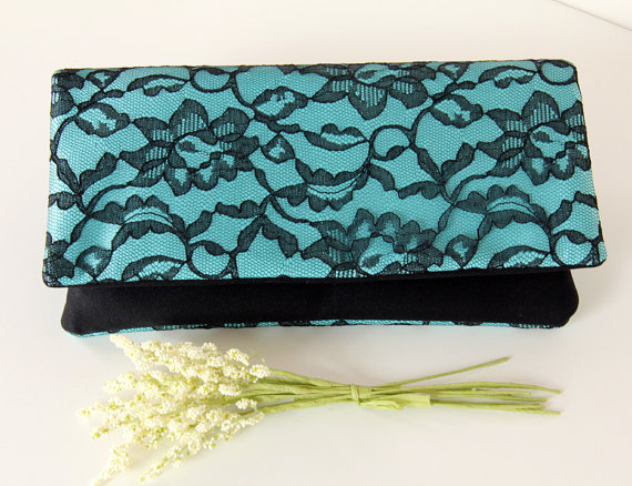 Свадьба - The LENA Clutch - Lace Wedding Clutch - Black Lace and Turquoise Satin, Bridesmaid Clutch, Bridesmaid Gift Idea