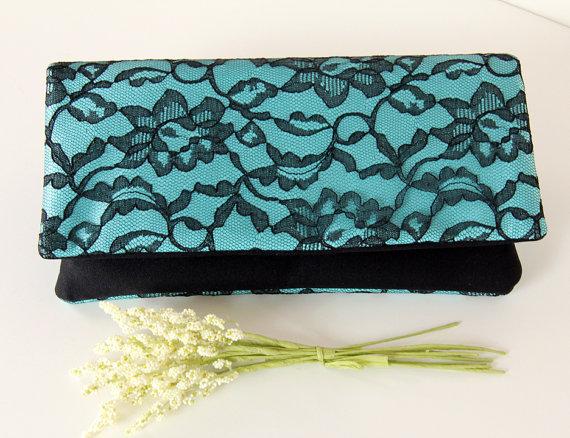 زفاف - The LENA Clutch - Lace Wedding Clutch - Black Lace and Turquoise Satin, Bridesmaid Clutch, Bridesmaid Gift Idea