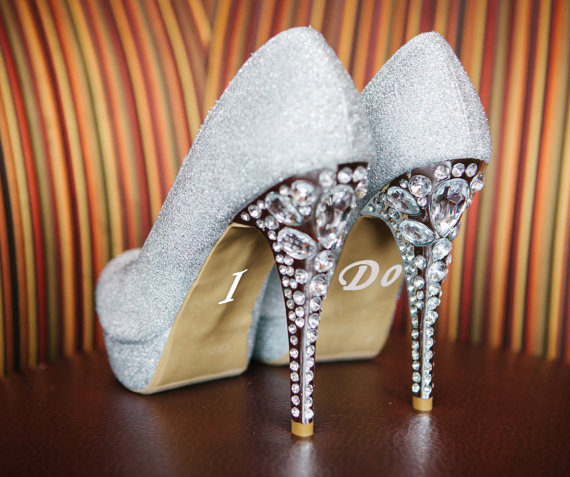 Mariage - I Do Shoe Stickers - Bride / Bridal Shoe Stickers - Wedding Day Vinyl Shoe Decals