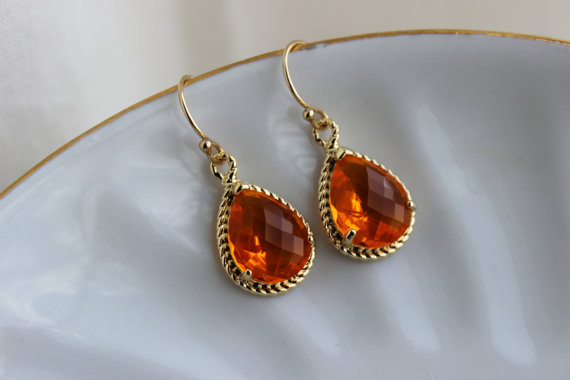 Mariage - Burnt Orange Earrings Amber Gold Jewelry - Tangerine Bridesmaid Earrings Wedding Earrings Amber Bridesmaid Jewelry Orange Wedding Jewelry